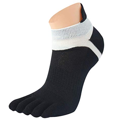 KPILP 1 Paar Männer Frauen Mesh Atmungsaktiv Sportsock Meias Unisex Sneakersocken Laufen Fünf Finger Zehensocken Freizeitsocken,Schwarz