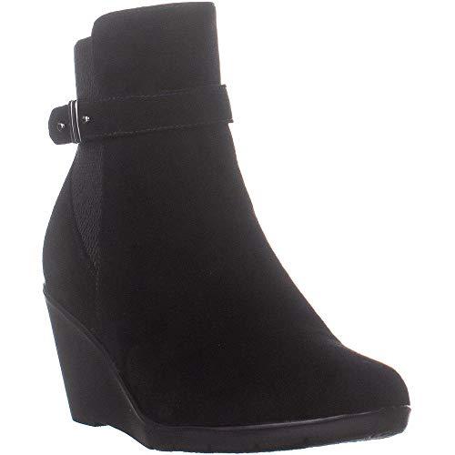 Price comparison product image Aqua College Womens Lisa Closed Toe Ankle Fashion Boots,  Black Suede,  Size 8.5