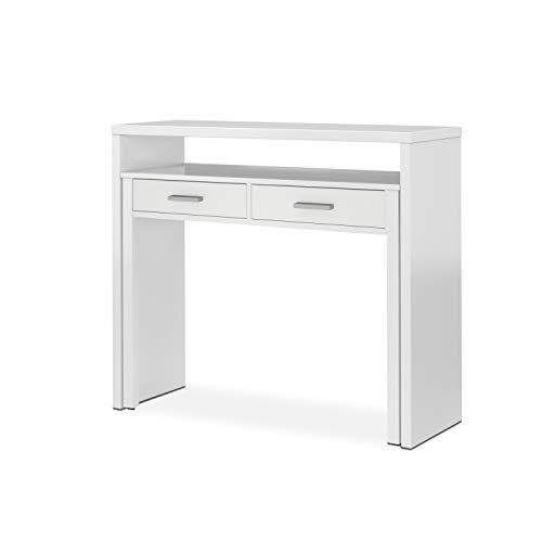 Habitdesign Mesa Escritorio Extensible, Mesa Estudio, Consola, Acabado en Color Blanco Artik, Medidas: 98,5 cm (Ancho) x 36-70 cm (Fondo) x 87,5 cm (Alto)