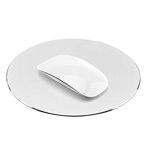 ProElife Premium Aluminum Metal Mouse Pad Mice Mat 8.66-inch Mousepad with Anti-Slip Base (Round, Silver Color)