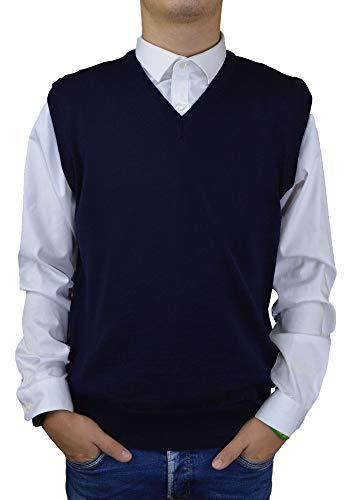 Iacobellis Maglione Uomo Pullover Gilet Misto Lana Merinos Extrafine Made in Italy 4XL Blu
