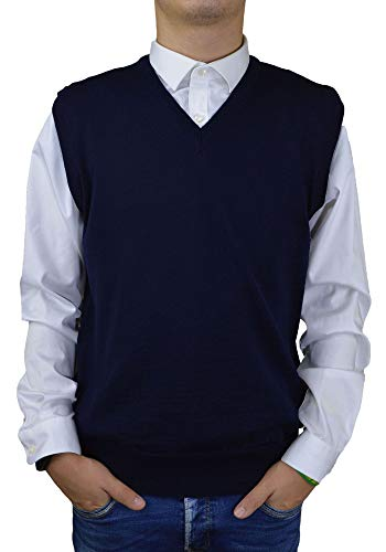 Iacobellis Men's Gilets V-Neck Merino Wool Pullover Made in Italy