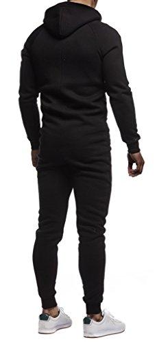 LEIF NELSON Herren Overall Jumpsuit Onesie Trainingsanzug, Schwarz-Rot - 4