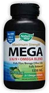 Natures Way, Mega EFA Blend 1350 Mg, 90 Softgels