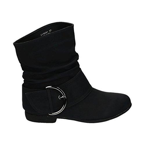JUMEX Damen Stiefeletten Western Stiefel Cowboy Boots Flache Schlupfstiefel Schuhe 91 (37, Schwarz)