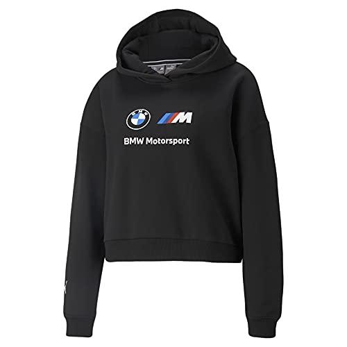 PUMA Women's Standard BMW MMS Essentials Logo Fleece Hoodie, Black, Small