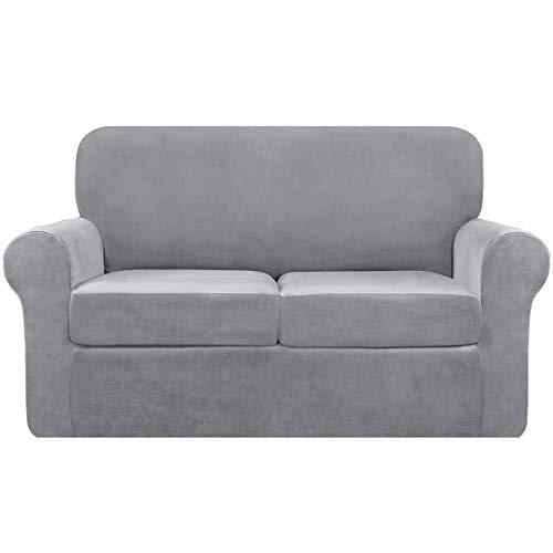 subrtex Funda de sofá de terciopelo elástico de 2 plazas con cojín separado suave funda de sofá con correas antideslizantes para un moderno protector de muebles de felpa (color gris claro)