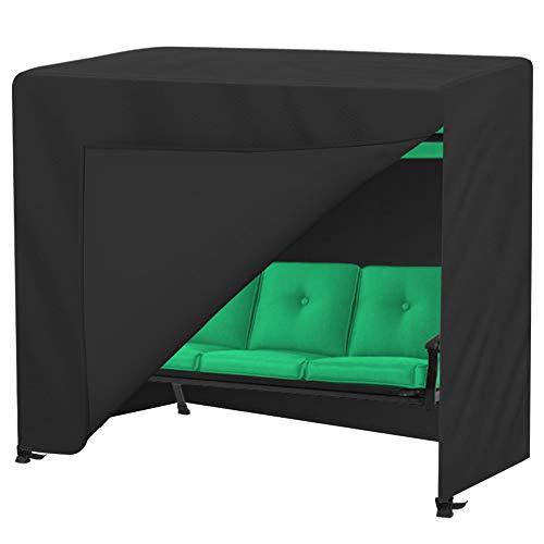 OVCRNIBI - Funda para columpio de jardín de 3 plazas, impermeable, resistente al viento, para exteriores, cubierta de hamaca de jardín, 210 x 150 x 150 cm, color negro