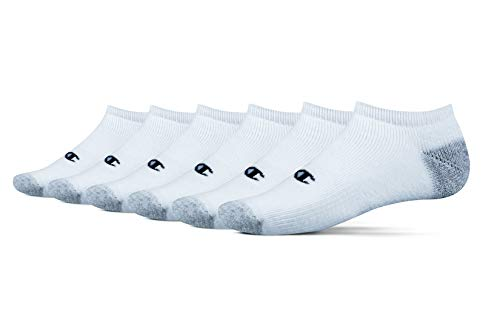 Champion Men's 6 Pack No Show Socks, White, Shoe Size: 6-12