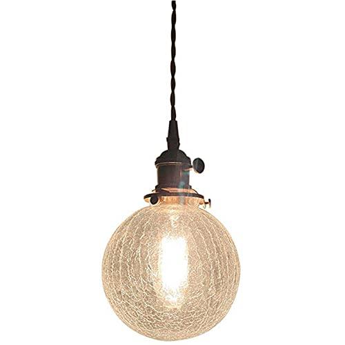 GUOYULIN Iluminación Colgante de Cristal Agrietado, Lámpara Colgante de Techo E27 de 1 Cabeza, Altura Ajustable, Luz Colgante para Comedor, Dormitorio, Porche