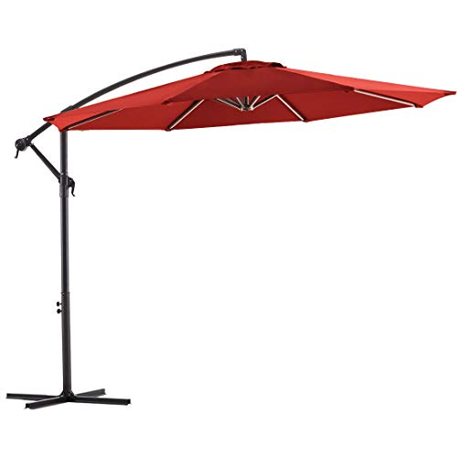 Wikiwiki Offset Umbrella 10ft Cantilever Patio Umbrella Hanging Market Umbrella Outdoor Umbrellas with Crank & Cross Base (Brick Red)