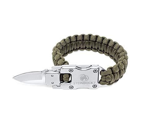Steinbock7 Survival Paracord Männer Armband – Tactical Mini Messer, Anleitung zum Flechten, Grün