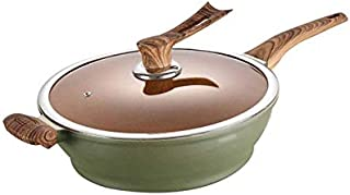 XXDTG 32cm Wok, antiadhésive Sans Grasses Pan Fumée, Fer Pan, Pan usage général for les ménages Cuisine Cuisinière à induc...