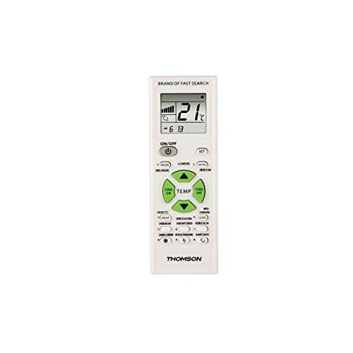 Thomson Universal-Fernbedienung für Klimaanlagen und Klimageräte ROC1205 (mit Timerfunktion und LCD-Anzeige) weiß