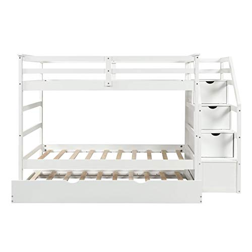 Loft Bed All Solid Wood Bunk Bed Frame with Stair Storage and Safety Guardrail is Perfect for Children and Teenagers