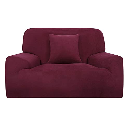 Funda de sofá elástica en forma de L funda de silla para sofá de 1 2 3 plazas + funda de cojín rojo S