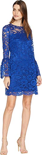 LAUNDRY BY SHELLI SEGAL Lace Dress with Bell Sleeves Cobalt 4