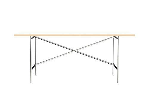 Modulor Tisch E2 mit pulverbeschichtetem Tischgestell und seidenmatter Tischplatte (90 x 180 cm, Verchromt und Weiß)