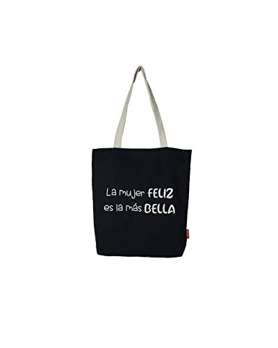 Bolso Tote. Algodón 100%. Negro. con Cremallera, Forro y Bolsillo Interior. 37 * 38 cm + (asa: 28 cm). Incluye sobre Kraft de Regalo.