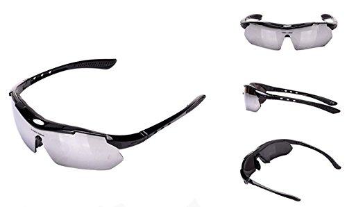 Gafas de sol deportivas, MansWill para exteriores, resistente al viento, lente PC de alta definición, protección UV400 para ciclismo, correr, esquí, conducción, golf, pesca, marco súper ligero, diseño unisex, hombre, Black Frame + Silver Lens
