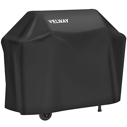 Velway Gas Grill Cover Barbecue Cover Waterproof Heavy Duty 210D Oxford Fabric Outdoor BBQ Cover UV protection Dust-Proof Windproof Weatherproof Durable with Storage Bag Black(147x61x117cm)