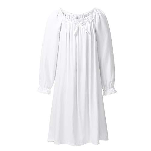 FEESHOW Kinder Mädchen Nachthemd Weiß Prinzessin Schlafanzug Baumwolle Nachtwäsche Langarm Nachtkleid Nightdress Gr.98-152 Weiß 98-104