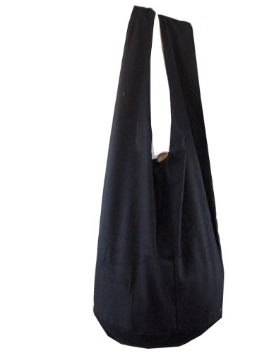 BTP! Thai Monk Buddha Cotton Sling Crossbody Messenger Bag Purse Hippie Hobo Black XL1
