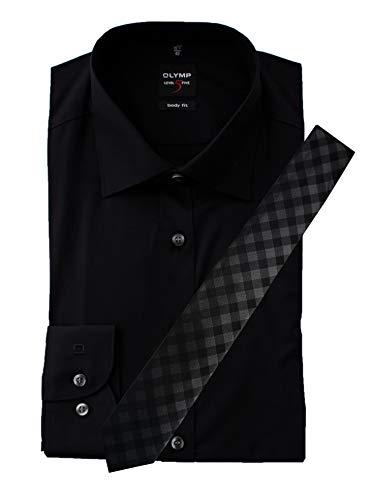 OLYMP Hemd, Schwarz Body Fit Level Five mit passender Krawatte, Bügelleicht (42)