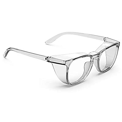 TOREGE Safety Glasses, Fashionable Eye Protection With Clear, Scratch Resistant Lenses, Great Safety Goggles For Men & Women (Square frame)