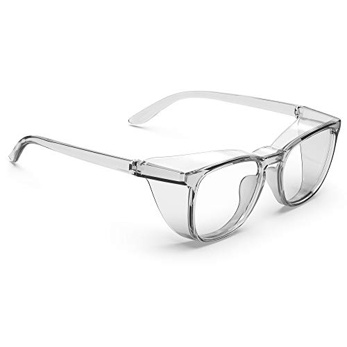 TOREGE Safety Glasses Fashionable Eye Protection With Clear Scratch Resistant Lenses Great Safety Goggles For Men amp Women Square frame