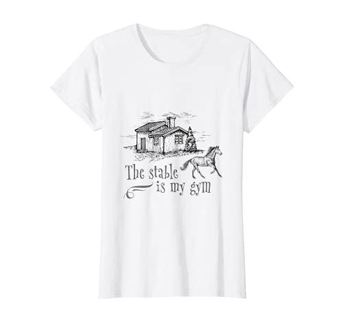 Mujer El establo es mi gimnasio caballo caballos equitación Camiseta