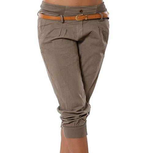 ShallGood Hosen Donne Jeans Capri Pantaloni 3/4 Fidanzato Chino Pantaloncini Casual Taglie Forti Cachi L