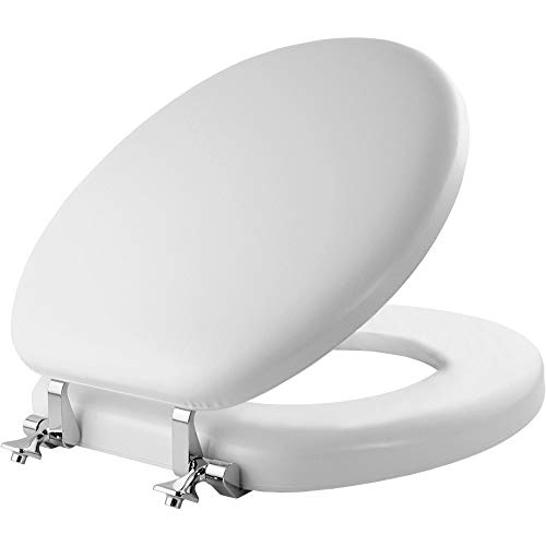Mayfair 815CP 000 Soft Toilet Seat with Premium Chrome Hinges that will Never Loosen, ROUND, White
