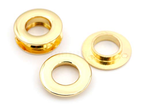 """CRAFTMEmore Metal Push Snap Together Grommet Flat Surface Snap Rings Eyelet O-Rings Purse Loop Easy Installation Pack of 4 Complete Rings (11mm (7/16""""), Gold)"""