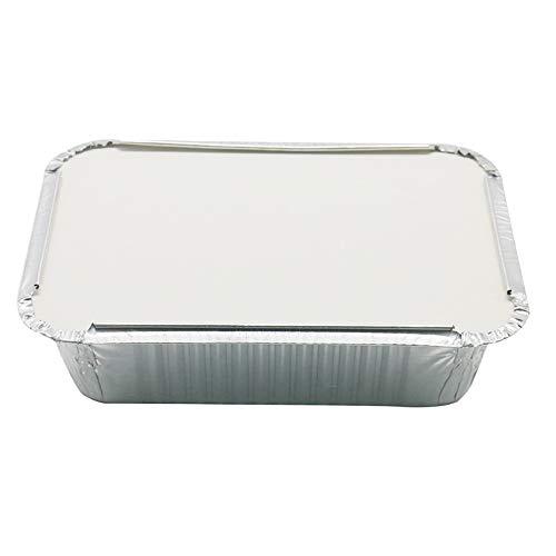 ASSR - Bandeja de aluminio desechable, bandeja de grasa para parrilla, con tapas para restaurante, barbacoa, catering, hornear, asar, 19,5 x 14 x 5,5 cm, paquete de 30