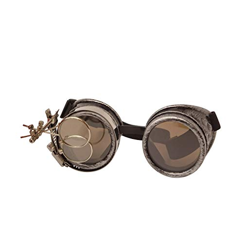 STEAMPUNK GOGGLES: Looking for the perfect accessory for your steampunk costume? Then these goggles are perfect. INCLUDES MAGNIFYING EYE: We include a 2 lens magnifying lens clip with your goggles to make your goggles extra special and eye catching A...