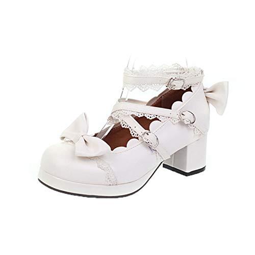Zapatos de Corte para Mujer, Zapatos de Vestir de Boca Baja Cruzados a la Moda, Resistentes al Desgaste, Zapatos de Princesa Mary Jane con Lazo Dulce Lolita