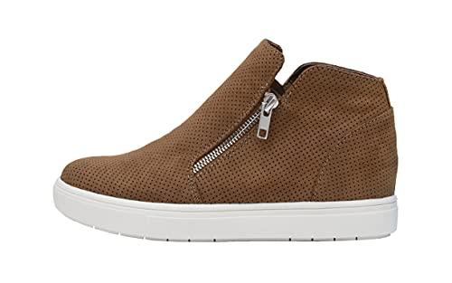 CUSHIONAIRE Women's Hart Hidden Wedge Sneaker +Wide Width Available, Cognac, 6.5