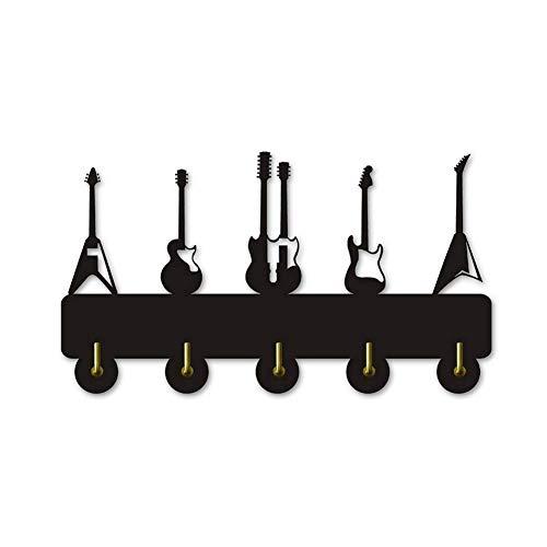 Cakunmik Hook Hook Hook Instrumento de Guitarra, Forma de Madera Ropa de Madera Sombrero de Gancho de Gancho/Perchero/Gancho de Pared Decoración Moderna Etiqueta engomada de la Pared Cuarto de baño