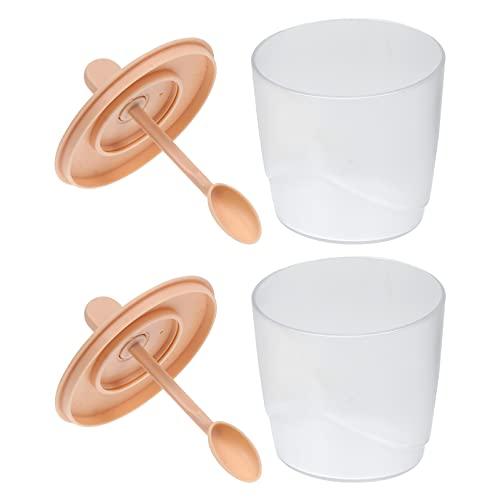 Lurrose Caja de condimentos de plástico transparente con tapa y cuchara para servir para el hogar, cocina, color rosa