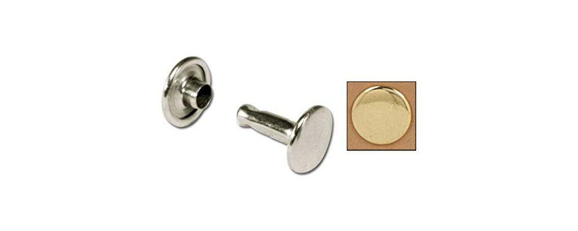 Tandy Leather Double Cap Rivets Medium Brass Plate 100/pk 1373-11