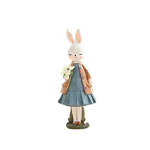 HDHL Molihua lindo conejo resina ornamentos, salón dormitorio manualidades, decoración de muebles. Gran Carney Rabbit Kalan Girl