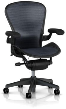 Hot Sale Aeron Chair by Herman Miller - Home Office Desk Task Chair Fully Loaded Highly Adjustable Medium Size (B) - Lumbar Back Support Cushion Graphite Frame Blue Black Tuxedo Pellicle