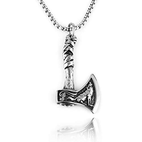 LEERIAN Collar Colgante Colgante de aleación de Acero de Titanio Viking Celtic Wolf Hacha, Regalo de cumpleaños Retro de Acero Inoxidable Retro Amuleto nórdico