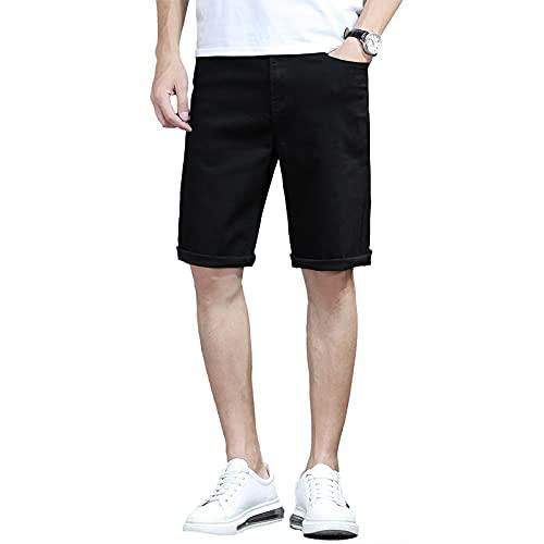 YUZHUKUNGMZNSDK Pantalones Cortos Hombre, Pantalones Cortos de Mezclilla Negra de los Hombres más tamaño Verano Suelto Elasticidad Recta Jeans Cortos más tamaño Ropa Masculina