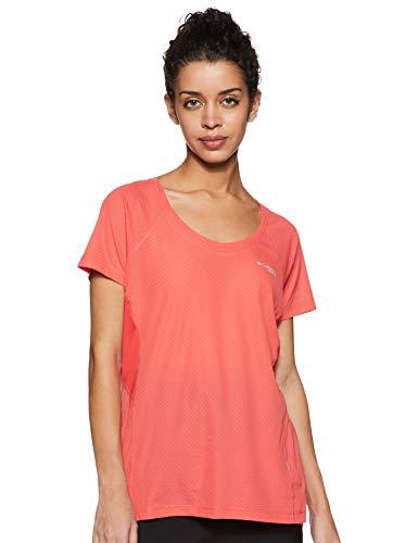 Columbia Mujer Camiseta, Titan Ultra II Short Sleeve, Poliéster, Rojo (Red Coral/ Cherrybomb), Talla: M, 1842481