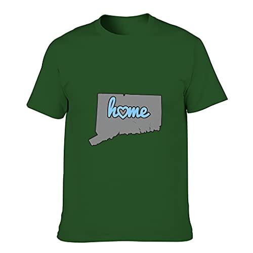 Camiseta de algodón para hombre Mapa de Connecticut Colorido Ultra Suave -USA Theme Tee