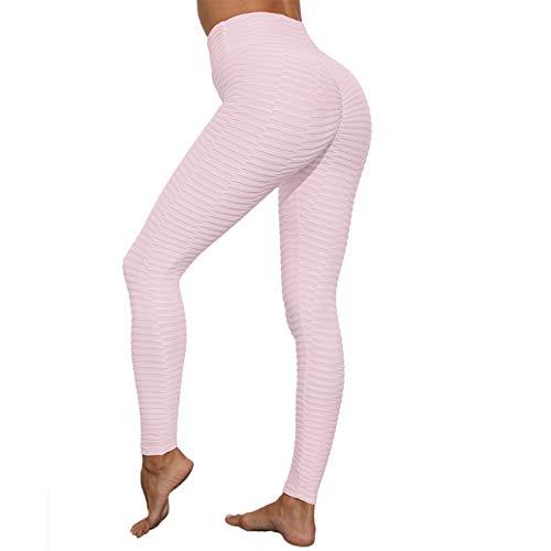 SotRong Pantalon de yoga froncé pour femme, taille haute, legging de compression pour fitness, gym, course à pied, collant de contrôle du ventre - Rose - Small