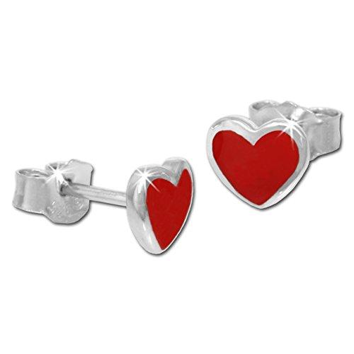 Teenie Weenie - orecchini per bimba, cuore rosso, in argento 925 TW SDO203J