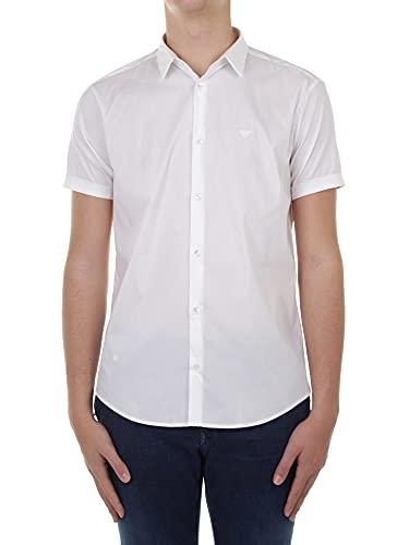 Emporio Armani Herren Casual Sportshirts Button Down Hemd, Bianco Ottico, Mittel
